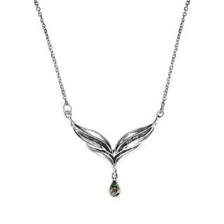 Handmade Angel Wings Gemstone Teardrop .925 Silver Necklace (Thailand)