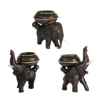 Handmade Three Elephants Carved Rain Tree Wooden Candle Holder Set (Thailand)