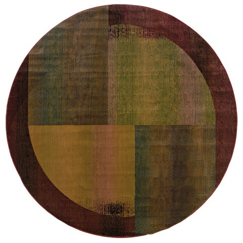 Kharma II Green/ Red Rug - 6' Round