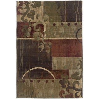 """Genevieve Modern Impressions Green/Red Area Rug - 4' x 5'9"""""""