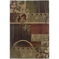 Generations Green/ Red Rug - 5'3 x 7'6