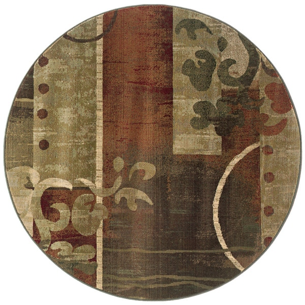 Genevieve Modern Impressions Green/Red Area Rug - 8' Round