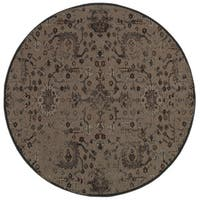 "Carbon Loft de Mestral Distressed Overdyed Grey/ Black Area Rug - 7'8"" x 7'8"" rnd"