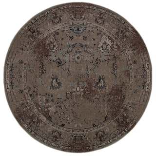 Over-dyed Distressed Traditional Grey/ Black Area Rug (7'8 Round)