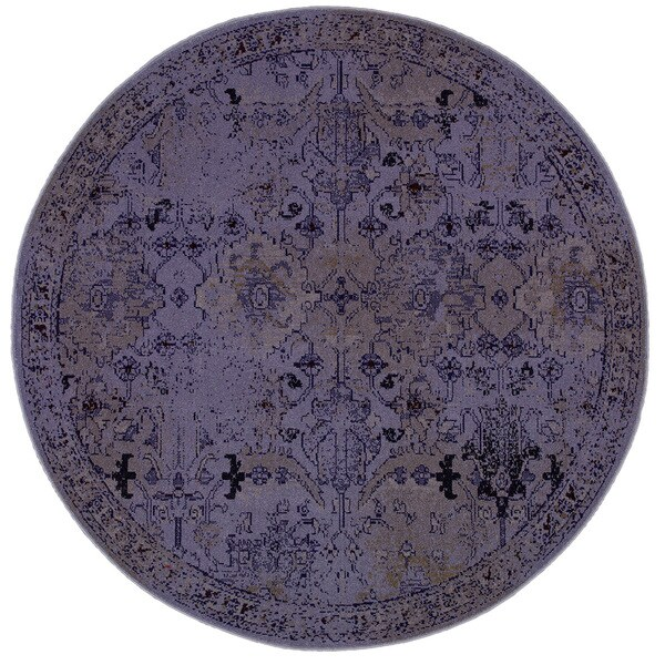 Over-dyed Distressed Traditional Purple/ Grey Area Rug (7'8 Round)