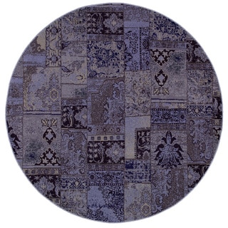 Patchwork Over-dyed Purple/ Grey Area Rug (7'8 Round)
