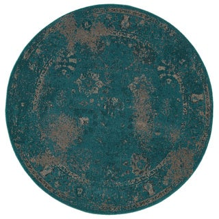 Over-dyed Distressed Traditional Teal/ Beige Area Rug (7'8 Round)