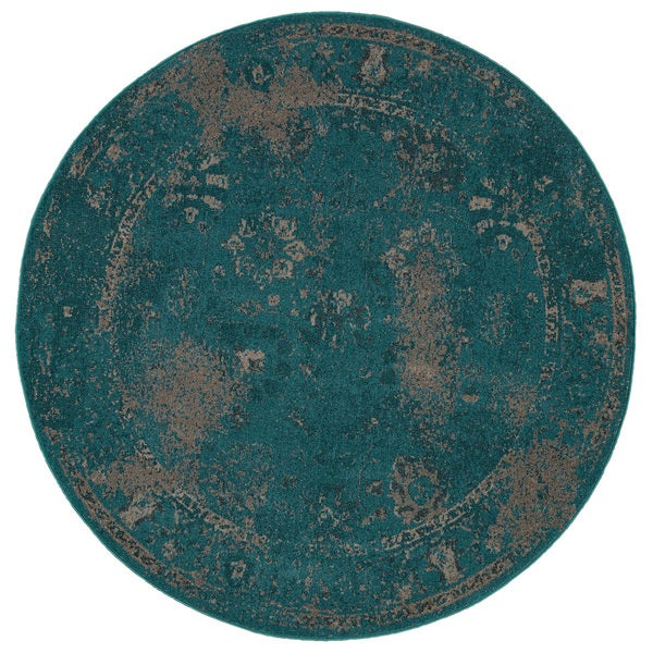 Over-dyed Distressed Traditional Teal/ Beige Area Rug (7'8