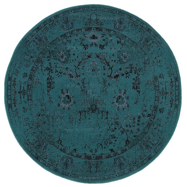 overdyed distressed traditional teal/ grey area rug ' round, 6' round teal rug, dark teal round rug, ikea teal round rug