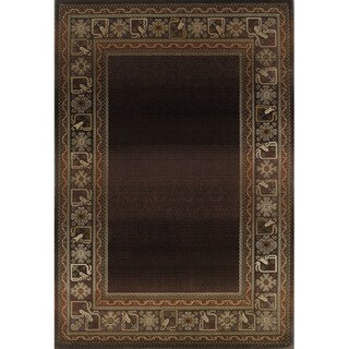 Generations Brown/ Green Rug (6'7 X 9'1)