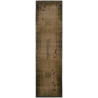 Generations Green/ Beige Runner Rug (2'3 x 7'6)