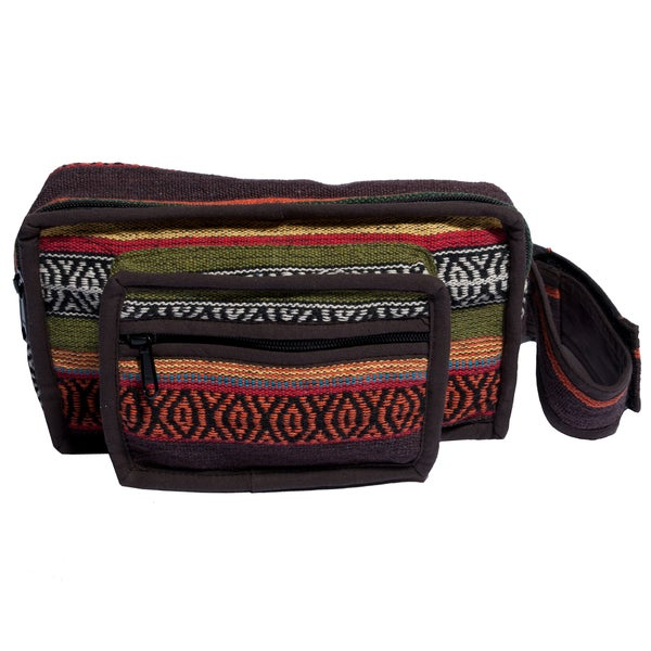 Oak Brown Cotton Knit Fannypack/Waist Bag (Nepal) - Free ...