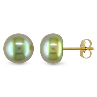 Miadora 10k Yellow Gold Pistachio Cultured Freshwater Pearl Stud Earrings (7-7.5 mm)