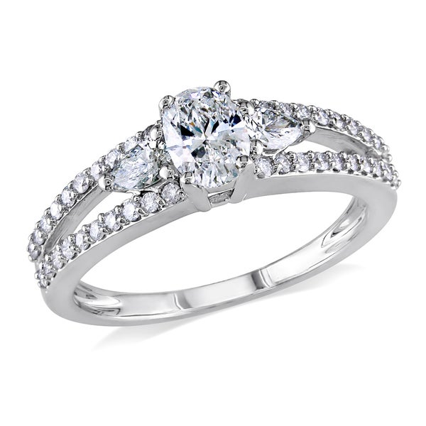 Miadora Signature Collection 14k White Gold 1ct TDW Certified Oval Cut Diamond Ring