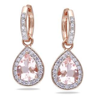 Miadora 14k Rose Gold 1/2ct TDW Diamond and Morganite Earrings (G-H, I1-I2)