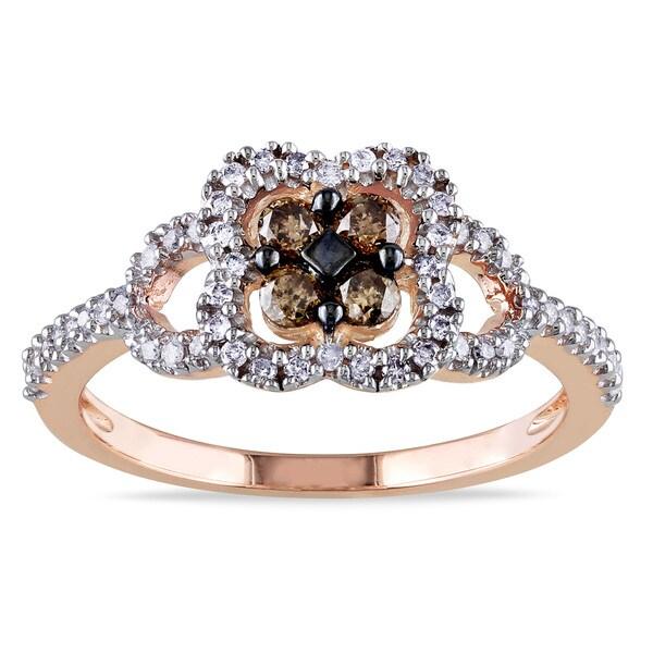 Miadora 10k Rose Gold 1/2ct TDW Brown and White Diamond Open Work Fashion Ring (I2-I3)