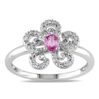 Miadora 10k White Gold Pink Sapphire and Diamond Flower Ring