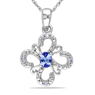 Miadora 10k White Gold Tanzanite and Diamond Flower Necklace
