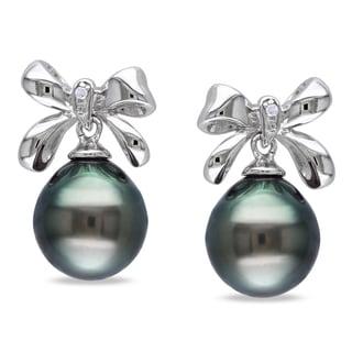 Miadora Sterling Silver Tahitian Black Pearl and Diamond Earrings (9-9.5 mm)