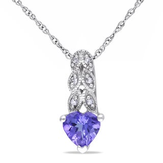 Miadora 10k White Gold Tanzanite and Diamond Heart Necklace