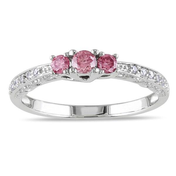 Miadora 10k White Gold 1/4ct TDW 3-Stone Pink and White Diamond Ring