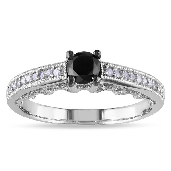 Miadora Sterling Silver 1/2ct TDW Black and White Round-cut Diamond Engagement Ring