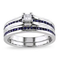 Miadora Sterling Silver 1/6ct TDW Princess-cut Diamond and Sapphire Engagement Wedding Band Ring Set