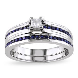 Miadora Sterling Silver 1/6ct TDW Princess-cut Diamond and Sapphire Engagement Wedding Band Ring Set
