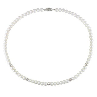 Miadora Sterling Silver White Cultured Freshwater Pearl Necklace (6-7 mm)