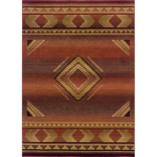 Genevieve Tribal Red/Beige Area Rug - 4' x 5'9""