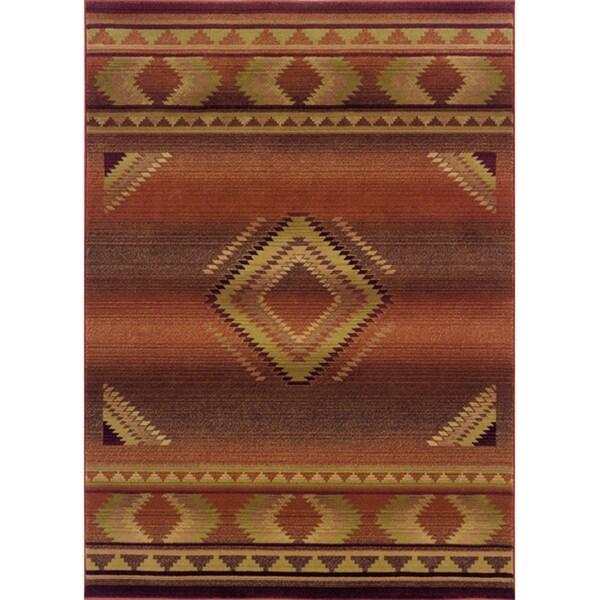 "Genevieve Tribal Red/Beige Area Rug - 5'3"" x 7'6"""
