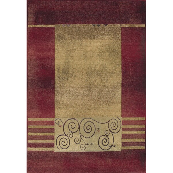"Generations Red/ Beige Border Rug (5'3 x 7'6) - 5'3"" x 7'6"""
