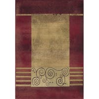 Generations Red/ Beige Border Rug - 5'3 x 7'6