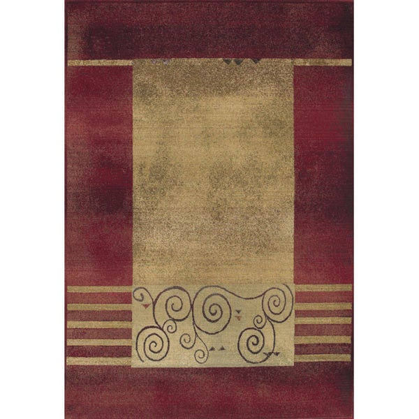 """Generations Red/ Beige Area Rug (6'7 x 9'1) - 6'7"""" x 9'1"""""""