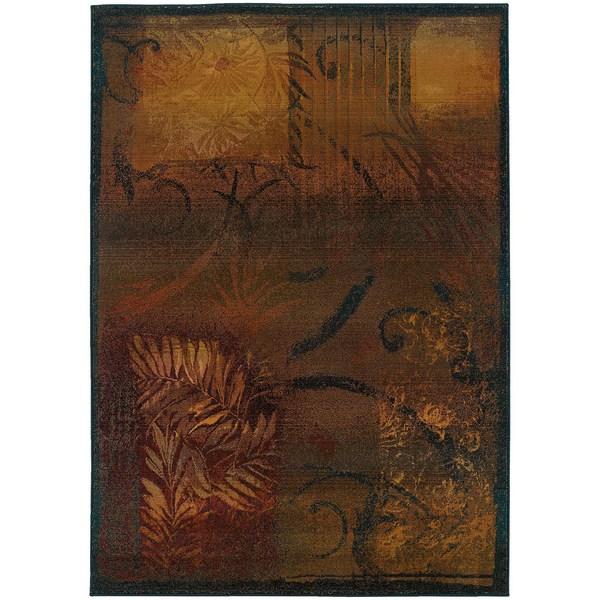 """Kharma II Brown/ Gold Rug (7'10 X 11') - 7'10"""" x 11'"""