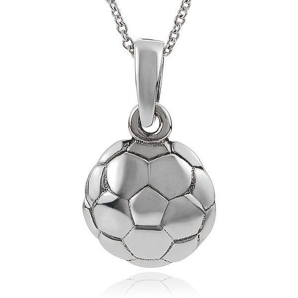 Journee Collection Sterling Silver Soccer Ball Pendant
