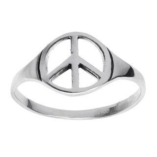 Journee Collection Sterling Silver Peace Sign Ring