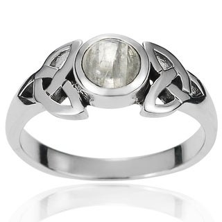 Journee Collection Sterling Silver Moonstone Celtic Knot Ring
