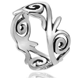 Journee Collection Sterling Silver Swirl Ring