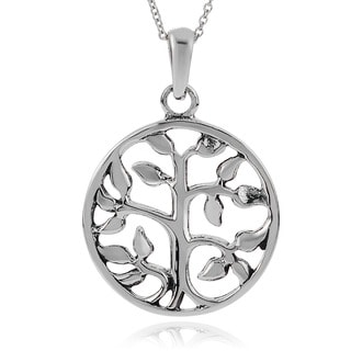 Journee Collection Sterling Silver Round 'Tree of Life' Pendant