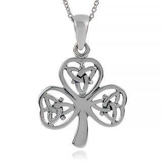 Journee Collection Sterling Silver Celtic Shamrock Pendant
