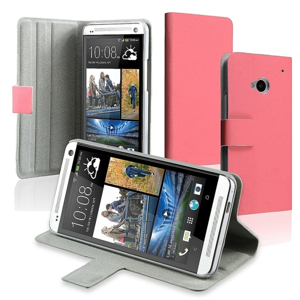BasAcc Pink Leather Case with Magnetic Flap for HTC One M7