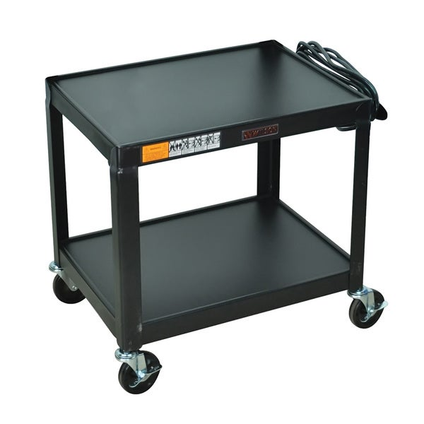 Black Mobile Fixed Height Steel Audio Visual 2 Shelf Storage Utility Cart