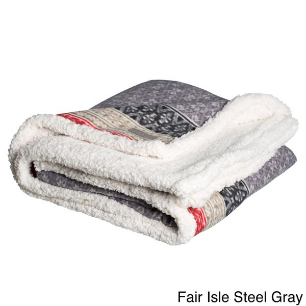 Eddie Bauer FairIsle Sherpa Reversible Throw - Free Shipping On ...