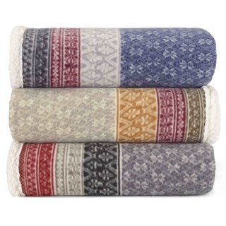 Eddie Bauer FairIsle Sherpa Reversible Throw