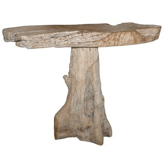 Decorative Brown White Washed Rustic Teak Console Table