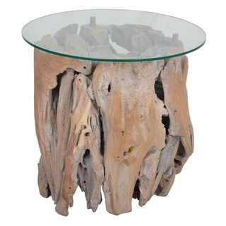 Decorative Brown Rustic Round Teak Side Table