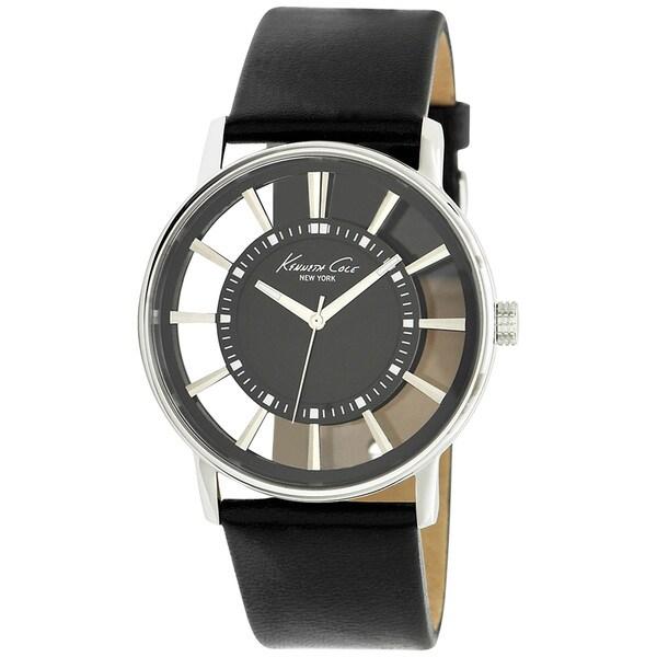 Kenneth Cole Men's 'Transparency KC1793' Black Leather White Dial Quartz Watch