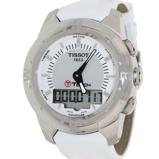 Tissot Women's 'T-Touch Ii T047.220.46.086.00' White Leather Grey Dial Swiss Automatic Watch