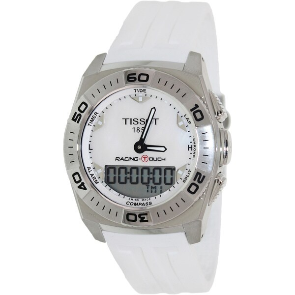 Tissot Men's 'T-Touch T002.520.17.111.00' White Rubber Mother-of-Pearl Dial Swiss Quartz Watch